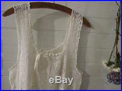 Vintage 1920's style flapper summer slip dress with hand crochet lace. Fits M/L