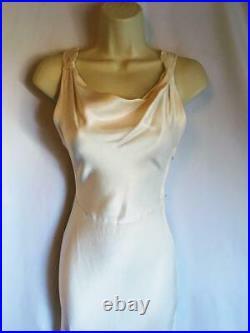 Vintage 1920s 1930s Ivory Wedding evening dress satin crepe slip dress size 6 8
