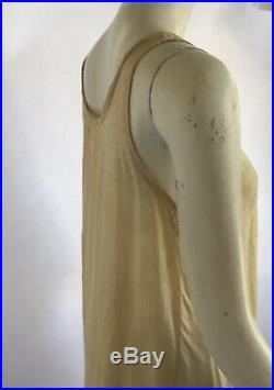 Vintage 1920s Art Deco Lot Of 2 Pongee Silk Ecru Hand Embroidered Slip Dresses