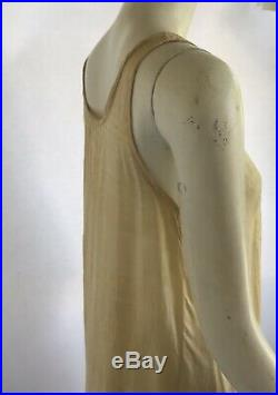 Vintage 1920s Art Deco Pongee Silk Slip Dress With Embroidered Flowers