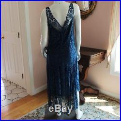 Vintage 1920s Blue Lace Floral Dress with Blue Silk Slip