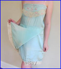 Vintage 1920s Blue Silk Embroidered Slip Dress Chemise Lace Flowers Size Large