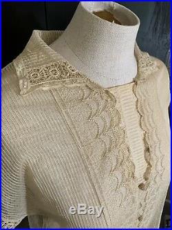 Vintage 1920s Dress. Cotton Net Lace. Sheer. Sz Small. Chemise. Slip Dress