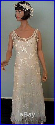 Vintage 1920s Dress Gown Ivory Embroidered Silk Chiffon Drop Waist Wedding Slip