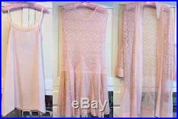 Vintage 1920s Pink Lace Silk Chiffon Flapper Deco Dress Jacket Slip 3 Piece Set