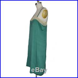 Vintage 1920s Silk Slip Dress Emerald Green Lace Embroidery M/L