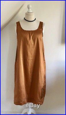 Vintage 1920s Slip Petticoat Dress 20s Art Deco Silk Rare Bronze Neera Sylk 16