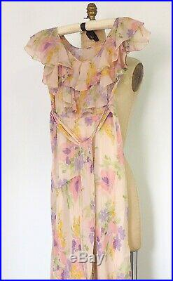 Vintage 1930-40's Romantic Sheer Floral Pink Dress with Ruffles &Tie With Slip