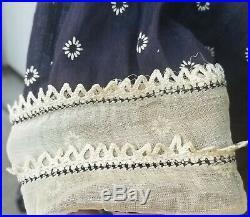 Vintage 1930's LA GRACE Novelty Frocks GORDON BROS. Navy Cotton Slip Over Dress