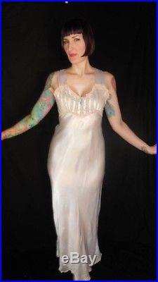 Vintage 1930's Pale Powder Blue Satin Lace Nightgown Slip Dress size Medium
