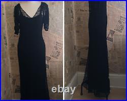 Vintage 1930's Schwarz Spitzenkleid, Seide Slip, Spitze Abendkleid