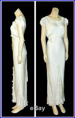 Vintage 1930's Silk & Rayon Satin Lace BIAS CUT Bridal Slip Nightgown Dress