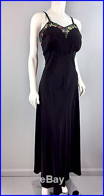 Vintage 1930S Black crepe slip Dress sequin flowers Empire waist 38 bust