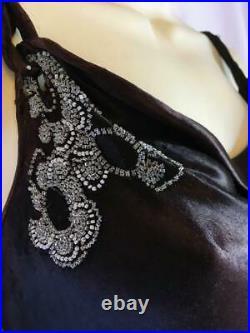 Vintage 1930s 1920s black satin evening dress slip size 10 beaded 20s 30s