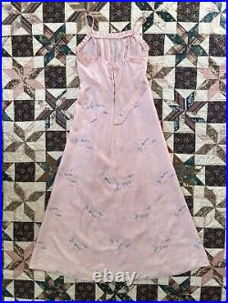 Vintage 1930s 30s Floral Embroidered Ruffled Slip Dress