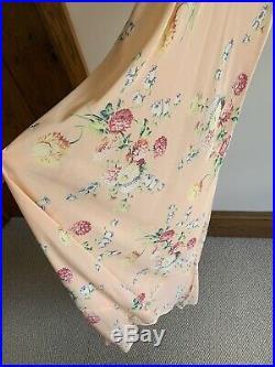 Vintage 1930s 40s Floral Rayon Crepe Slip Dress Night Dress