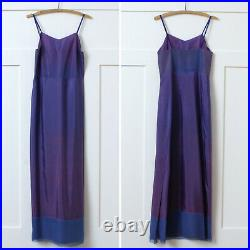Vintage 1930s Art Deco Floral Silk Chiffon Gown with Slip Full Length Dress XS