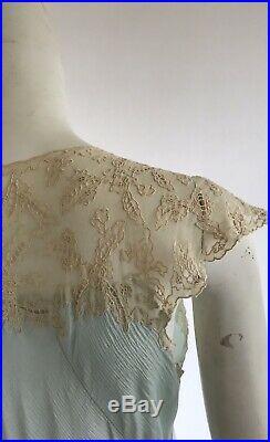 Vintage 1930s Art Deco Pale Blue Silk And Lace Bias Cut Slip Dress