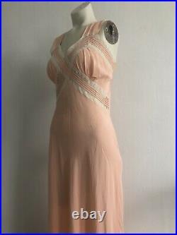 Vintage 1930s Art Deco Pink Rayon Slip Dress Bias Cut Fagoted Seam Criss-Cross