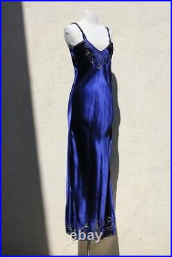 Vintage 1930s Bias Cut Navy Blue Embroidered Satin Gown Nightgown Slip Dress