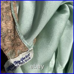Vintage 1930s Blue Silk Satin & Floral Lace Dress Slip V Low Back Bias Cut Maxi