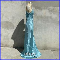 Vintage 1930s Blue Turquoise Blue Silky Dress Slip Low Back Bias Cut Maxi Straps