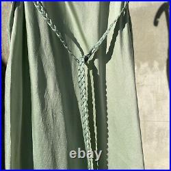 Vintage 1930s Celery Green Silk Satin Slip Dress Braided Straps & Belt Maxi