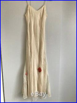 Vintage 1930s Chiffon slip dress with applique flowers