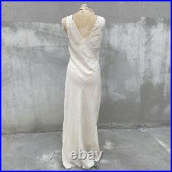 Vintage 1930s Cream Silk Dress Slip Bias Cut Maxi Floral Embroidery Dot Brocade