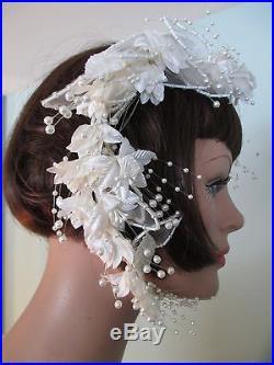 Vintage 1930s Dress Gown Ivory Embroidered Silk Chiffon Drop Waist Wedding Slip