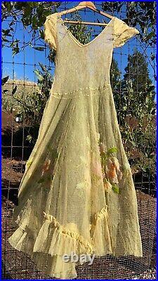 Vintage 1930s Dress Mesh Floral Embroidered Ruffles Net Slip Marigold 30s