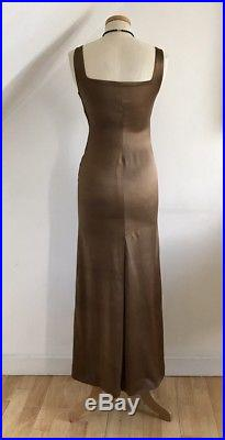 Vintage 1930s Dress Slip Bronze Satin Art Deco 30s Cocktail Gown Motley London