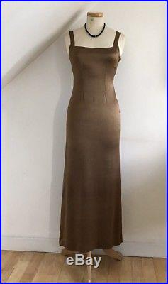 Vintage 1930s Dress Slip Bronze Satin Art Deco 30s Cocktail Gown Motley London