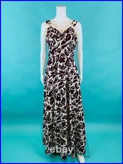 Vintage 1930s Floral Gown Red Cream Print Long Dress Top Slip Set B 33