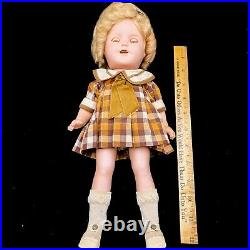 Vintage 1930s Ideal Shirley Temple Composiiton 13 Doll Plaid Dress Slip JF32