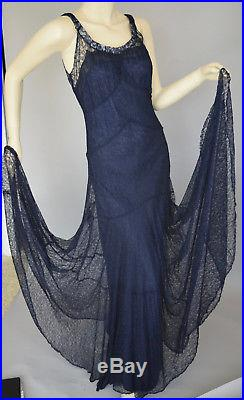 Vintage 1930s Lace Dress Gown With Matching Slip Navy Indigo Blue M/L