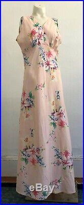 Vintage 1930s Large Format Floral Print Viscose Slip Dress Pink Art Deco VTG