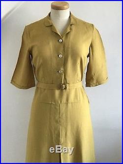 Vintage 1930s Linen Shirt Dress Slip 30s Art Deco Embroidery Unworn Designer