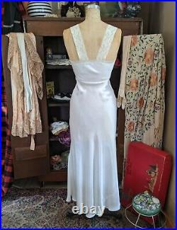 Vintage 1930s Liquid Satin Lace Night Gown Bed Jacket Maxi Dress Bias Cut Slip M