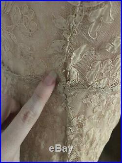 Vintage 1930s Long Lace Dress Evening Gown XS Smal Nude Women Caplet Slip Wiggle