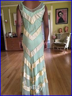 Vintage 1930s Mint Ivory Chevron Mesh Formal Full Length Dress with Matching Slip