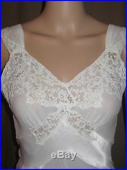 Vintage 1930s NIght Gown Slip Dress White Bias Cut Satin Lady Duff Low Back 32