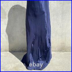 Vintage 1930s Navy Blue Silky Rayon Dress Slip Lace Bias Cut Maxi Strappy Gown
