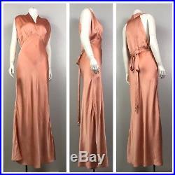 Vintage 1930s Pale Pink Satin Sleeveless Pink Bias Cut Slip Dress Nightgown M
