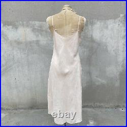 Vintage 1930s Pale Pink Silk Dress Slip Gown Floral Embroidery Brocade Strappy