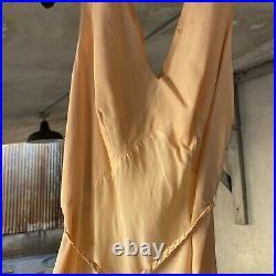Vintage 1930s Peach Crepe Silk Maxi Slip Dress Braided Belt Barbizon Loungewear