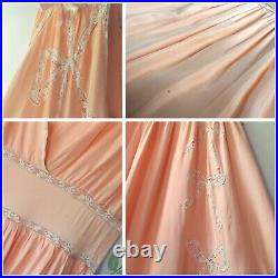 Vintage 1930s Peach Lace Bow Princess Maxi Gown Scalloped Lingerie Slip Dress XS