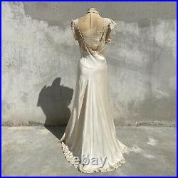 Vintage 1930s Pearly Ivory Silk Dress Slip Ecru Floral Bet Lace Bias Cut Maxi