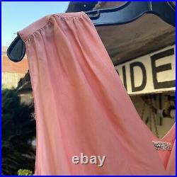 Vintage 1930s Pink Crepe Silk Maxi Slip Dress Two Tone Belt Barbizon Loungewear