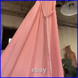 Vintage 1930s Pink Crepe Silk Slip Dress Braided Straps & Belt Maxi Barbizon